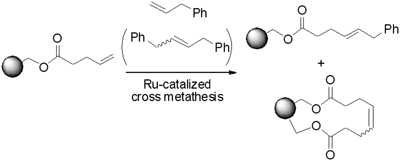 solid phase cross metathesis Solid-phase synthetic strategies towards the generation of libraries of biologically relevant molecules were developed using olefin cross-metathesis as a key step it is remarkably the formal alkane metathesis based on a one-pot, microwave-assisted, ruthenium catalyzed cross-metathesis and reduction.
